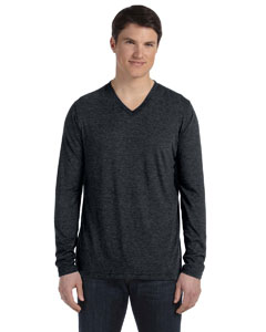 Black Men's Jersey Long-Sleeve V-Neck T-Shirt