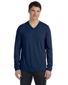 Navy Triblend Men's Jersey Long-Sleeve V-Neck T-Shirt