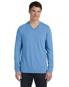 Blue Triblend Men's Jersey Long-Sleeve V-Neck T-Shirt