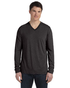 Charcoal Triblend Men's Jersey Long-Sleeve V-Neck T-Shirt