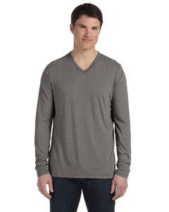 Grey Triblend Men's Jersey Long-Sleeve V-Neck T-Shirt