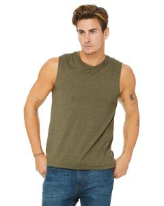 Heather Olive Unisex Jersey Muscle Tank