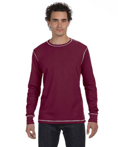 Maroon/silver Men's Thermal Long-Sleeve T-Shirt