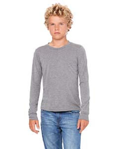 Grey Triblend Youth Jersey Long-Sleeve T-Shirt