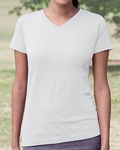 White Women's Fine Jersey V-Neck Longer Length T-Shirt