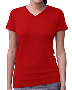 Red Women's Fine Jersey V-Neck Longer Length T-Shirt