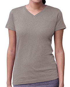 Heather Women's Fine Jersey V-Neck Longer Length T-Shirt