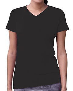 Black Women's Fine Jersey V-Neck Longer Length T-Shirt
