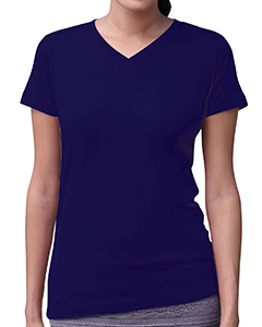 Navy Women's Fine Jersey V-Neck Longer Length T-Shirt