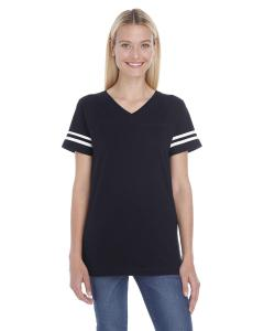 Black/ White Ladies' Football T-Shirt