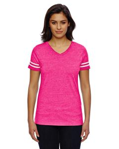 V Ht Pnk/ Bd Wht Ladies' Football T-Shirt