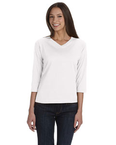 White Women's Combed Ringspun Jersey V-Neck 3/4-Sleeve T-Shirt
