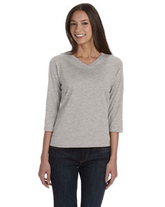 Heather Women's Combed Ringspun Jersey V-Neck 3/4-Sleeve T-Shirt