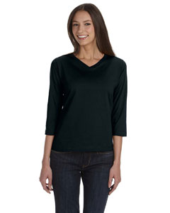 Black Women's Combed Ringspun Jersey V-Neck 3/4-Sleeve T-Shirt