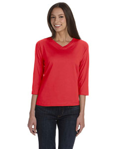 Red Women's Combed Ringspun Jersey V-Neck 3/4-Sleeve T-Shirt