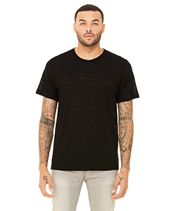 Solid Black Slub Unisex Poly-Cotton Short-Sleeve T-Shirt