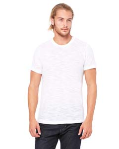 White Slub Unisex Poly-Cotton Short-Sleeve T-Shirt