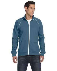 Steel Blue/white Men's Piped Fleece Jacket