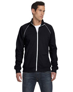 Black/white Men's Piped Fleece Jacket