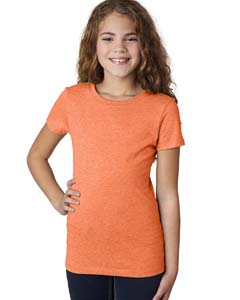 Neon Hthr Orang Girls' Princess CVC T-Shirt