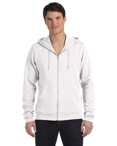 White Unisex Poly-Cotton Sponge Fleece Full-Zip Hooded Sweatshirt