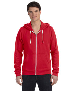 Red Unisex Poly-Cotton Sponge Fleece Full-Zip Hooded Sweatshirt