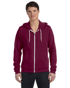 Maroon Unisex Poly-Cotton Sponge Fleece Full-Zip Hooded Sweatshirt