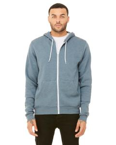 Heather Slate Unisex Poly-Cotton Sponge Fleece Full-Zip Hooded Sweatshirt