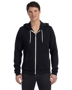 Black Unisex Poly-Cotton Sponge Fleece Full-Zip Hooded Sweatshirt