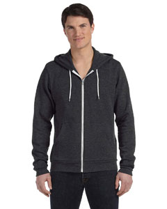 Dk Grey Heather Unisex Poly-Cotton Fleece Full-Zip Hoodie