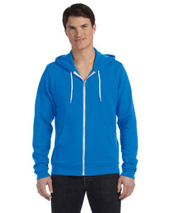 Neon Blue Unisex Poly-Cotton Sponge Fleece Full-Zip Hooded Sweatshirt
