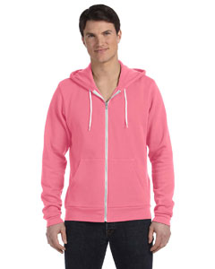 Neon Pink Unisex Poly-Cotton Fleece Full-Zip Hoodie