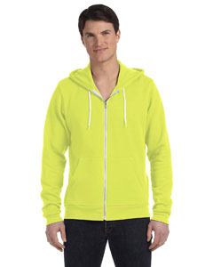 Neon Yellow Unisex Poly-Cotton Fleece Full-Zip Hoodie