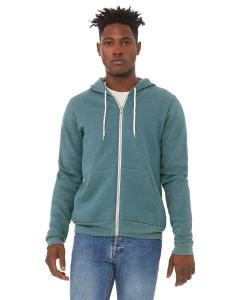 Hthr Deep Teal Unisex Poly-Cotton Sponge Fleece Full-Zip Hooded Sweatshirt