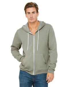 Heather Stone Unisex Poly-Cotton Sponge Fleece Full-Zip Hooded Sweatshirt