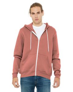 Mauve Unisex Poly-Cotton Sponge Fleece Full-Zip Hooded Sweatshirt
