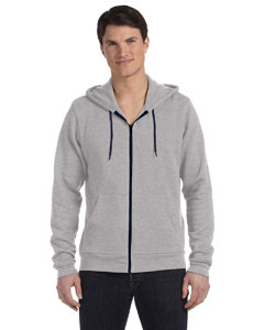 Ath Hthr/navy Unisex Poly-Cotton Fleece Full-Zip Hoodie