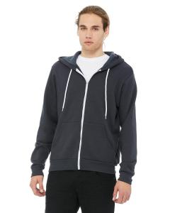 Dark Grey Unisex Poly-Cotton Sponge Fleece Full-Zip Hooded Sweatshirt