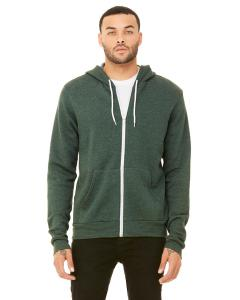 Heather Forest Unisex Poly-Cotton Sponge Fleece Full-Zip Hooded Sweatshirt