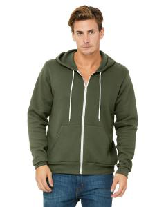 Military Green Unisex Poly-Cotton Sponge Fleece Full-Zip Hooded Sweatshirt