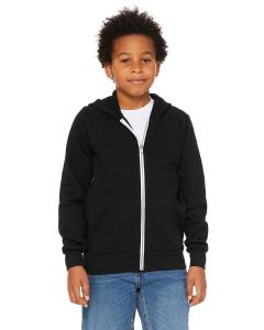 Black Youth Sponge Fleece Full-Zip Hooded Sweatshirt