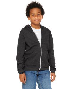 Dark Gry Heather Youth Sponge Fleece Full-Zip Hooded Sweatshirt