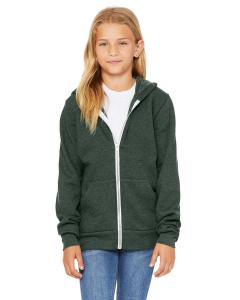 Heather Forest Youth Sponge Fleece Full-Zip Hooded Sweatshirt