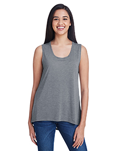 Heather Graphite Ladies Freedom Sleeveless T-Shirt