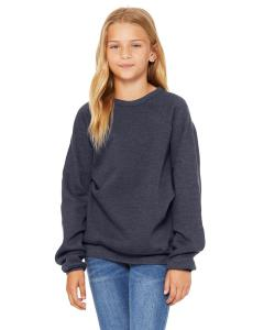 Heather Navy Youth Sponge Fleece Raglan Sweatshirt