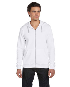 Solid White Trblnd Unisex Triblend Sponge Fleece Full-Zip Hoodie