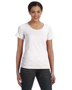 White Women's Sheer Combed Ringspun Scoop T-Shirt