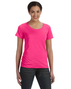 Hot Pink Women's Sheer Combed Ringspun Scoop T-Shirt