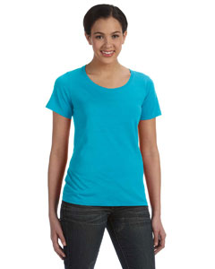 Carribean Blue Women's Sheer Combed Ringspun Scoop T-Shirt