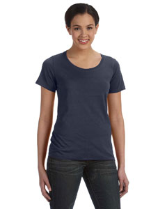 Navy Women's Sheer Combed Ringspun Scoop T-Shirt
